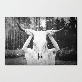 Bull Skull Tribal Woman Vintage Canvas Print