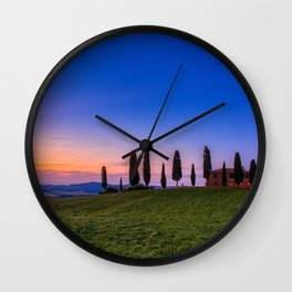 Cypress trees and meadow with typical tuscan house Wall Clock