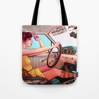 smoking Tote Bags featuring The Getaway by Rudy Faber
