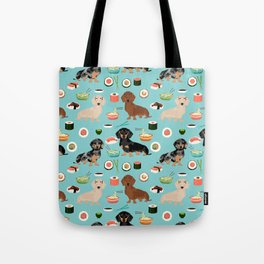 dachshund sushi multi coat doxie dog breed cute pattern gifts Tote Bag
