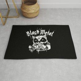 Grim Black Metal Corpse Paint Racoon! Rug