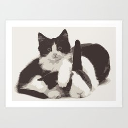 Cat and Bunny Art Print