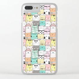 Crowd Of Hip Cats In Hats Clear iPhone Case
