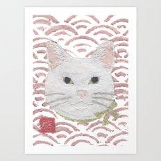 Cat, White Cat, Modern Japanese, Asian Art Print