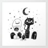 Graveyard Friends Art Print