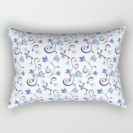 Deflt Blue Ditzy Floral Rectangular Pillow