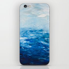 Paint 10 abstract water ocean seascape modern painting dorm room decor affordable stretched canvas iPhone Skin