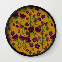 Purple and Gold Floral Seamless Illustration Wall Clock