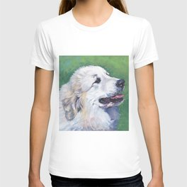 Great Pyrenees dog portrait art from an original painting by L.A.Shepard T-shirt