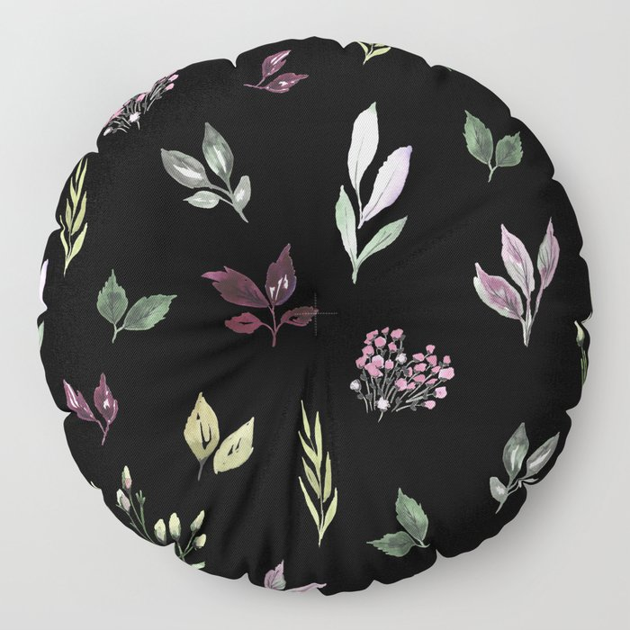 Tiny watercolor leaves pattern Floor Pillow