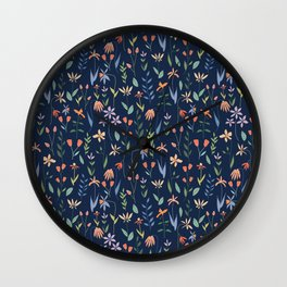 Wildflowers in the Air Navy Wall Clock