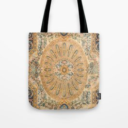 Louvre Fame Carpet // 16th Century Sunflower Yellow Blue Gold Colorful Ornate Accent Rug Pattern Tote Bag