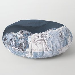 BLUE MARBLED MOUNTAINS Floor Pillow