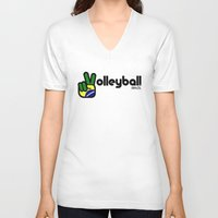 volleyball V-neck T-shirts featuring Volleyball Brazil by Skylar 83
