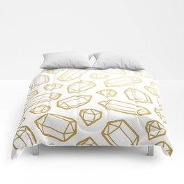 Gold and White Gemstone Pattern Comforters
