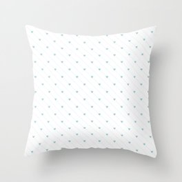 Vector aqua heart and diagonal dotted line seamless pattern Throw Pillow