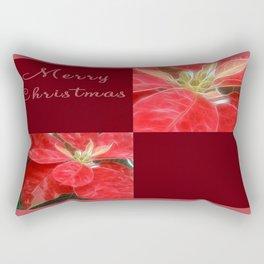 Mottled Red Poinsettia 1 Ephemeral Merry Christmas Q10F1 Rectangular Pillow
