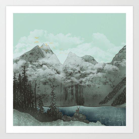 The Mountain Lake (Green) Art Print