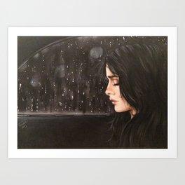 sad women in rain Art Print
