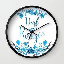 Dorfkönigin Florales Boho Humor Design Wall Clock