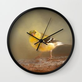 Winter Goldfinch Wall Clock