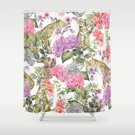 Leopards in flowery garden Shower Curtain