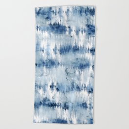 Modern hand painted dark blue tie dye batik watercolor Beach Towel