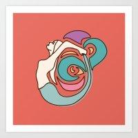 Boho Mermaid Stained Glass Art Print