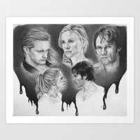 true blood Art Prints featuring True Blood Love Triangle by dmbgal07