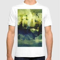 abstract landscape with light MEDIUM Mens Fitted Tee White