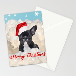 French Bulldog Santa Claus - Clouds Winter Snowflakes Stationery Cards