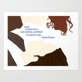Outlander Jamie and Claire Rare Woman Blue Print Art Print