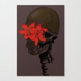 Skull with Flower Eyes Dark Canvas Print