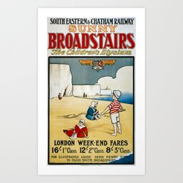 Sunny Broadstairs Travel Poster Art Print