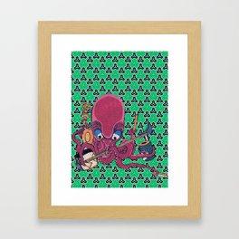 Kuniyoshi Musical Octopus with Bishamon Kikko Background Framed Art Print