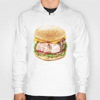 burger Hoodies featuring Burger by Creadoorm