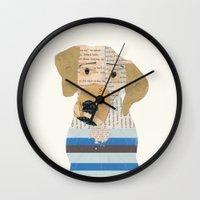 great dane Wall Clocks featuring great dane by bri.buckley