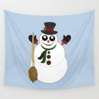 snowman Wall Tapestries featuring Snowman by Adamzworld