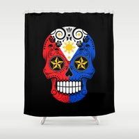 philippines Shower Curtains featuring Sugar Skull with Roses and Flag of Philippines by Jeff Bartels