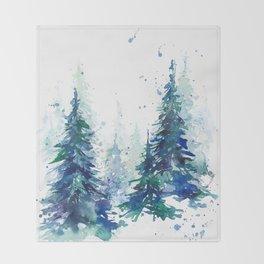 Watercolor winter fir forest Throw Blanket