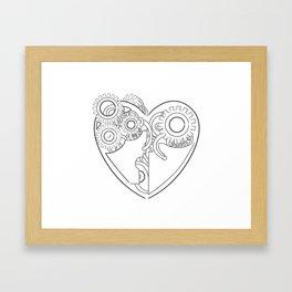 Cool steampunk mechanical heart, hand drawn illustration Framed Art Print