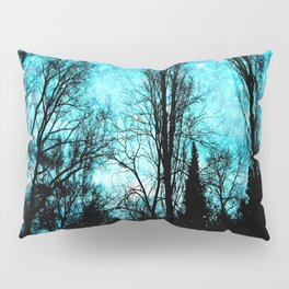 black trees turquoise teal space Pillow Sham