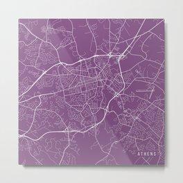 Athens Map, USA - Purple Metal Print