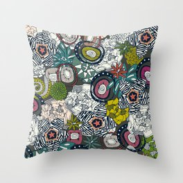 succulents multi dark Throw Pillow