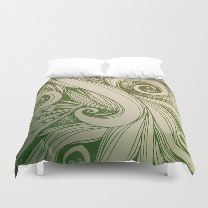 Tangled curves, olive Duvet Cover