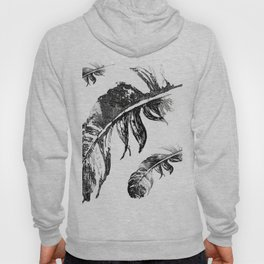 FEATHERS IN BLACK WHITE AND GRAY Hoody
