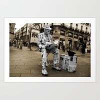 newspaper Art Prints featuring Newspaper Man by Rob Hawkins Photography