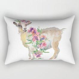 goat with flower crown Rectangular Pillow