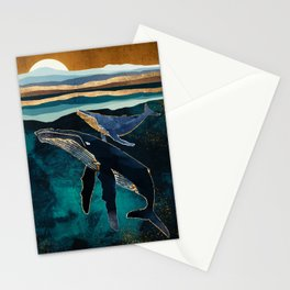 Moonlit Whales Stationery Cards