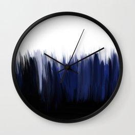 Modern blue cobalt black oil paint brushstrokes abstract Wall Clock